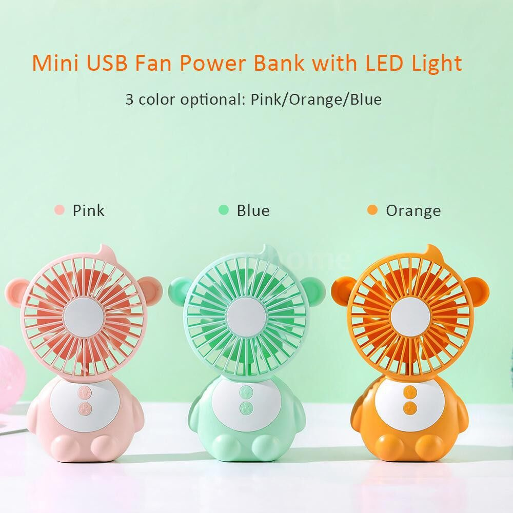 Lighting - DC5V 1.2-4W 3 Levels Wind Speed Adjustable MINI USB Powered Operated Fan with LED Light Dimmable - WHITE-ORANGE / WHITE-PINK / WHITE-BLUE