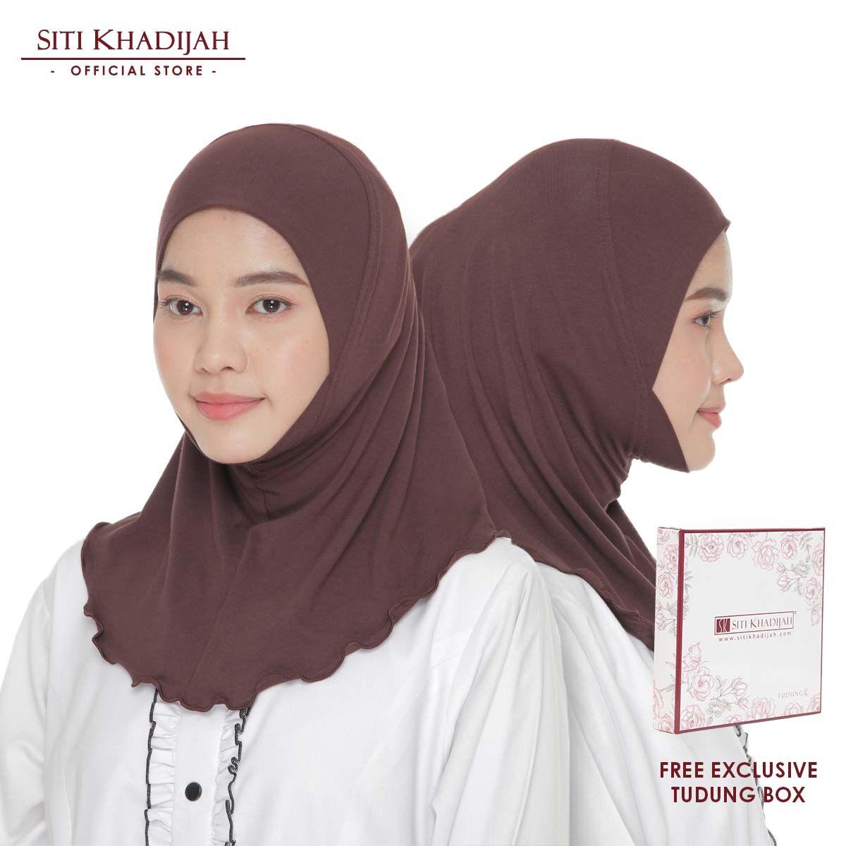 Siti Khadijah 2x Anak Tudung Cotton Brown (Free Tudung Box)