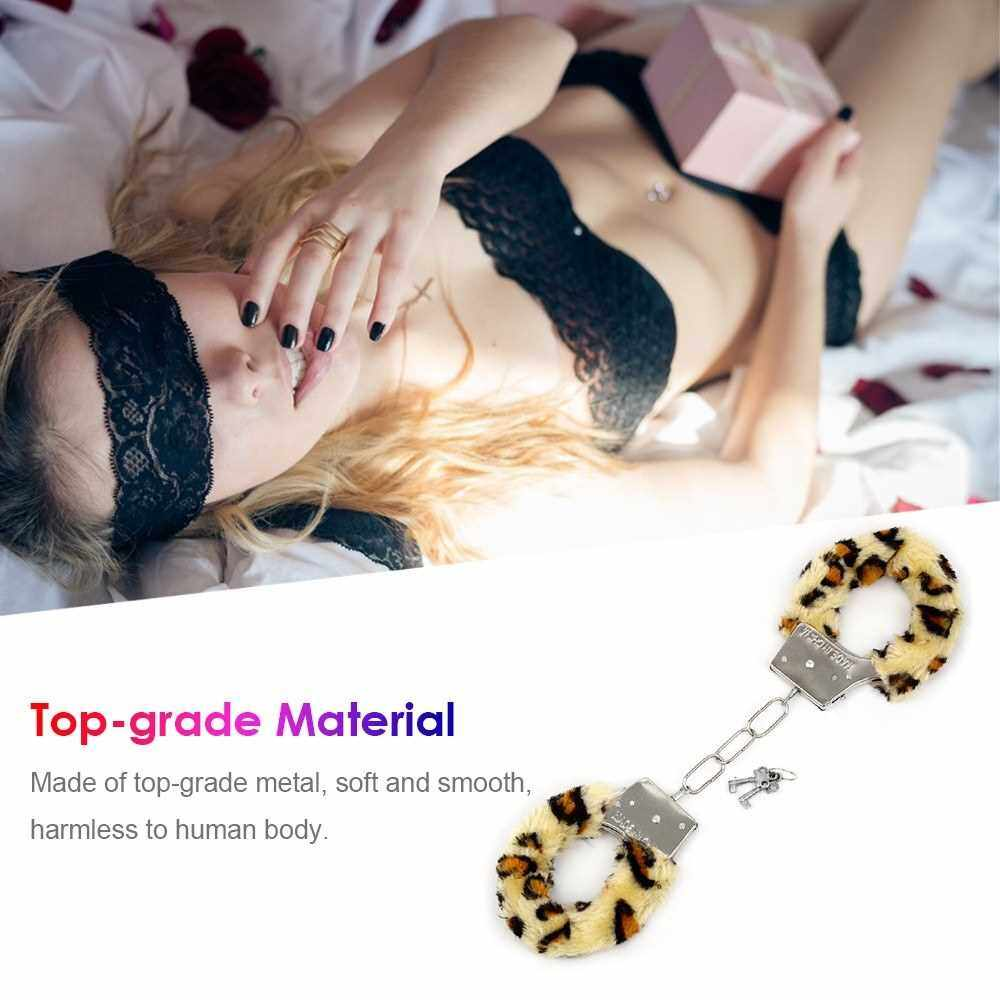 SM Handcuffs Metal Soft Fur Bondage Couples Erotic Sex Toys Ankle Cuffs for adults slave games BDSM Restraint Fetish Cosplay sex toys for woman (Pink)