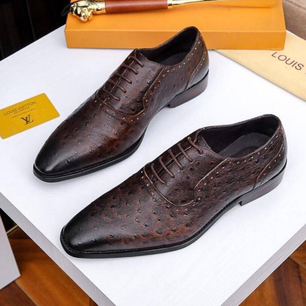 LV2019 new business men's shoes, stitching calf leather shoes, high quality office shoes