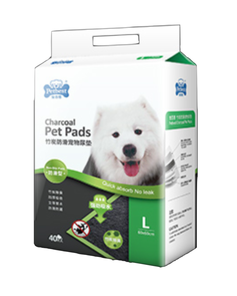 Petbest【宠百思】Non-Slip Charcoal Toilet Training Pet Pads / Wee Wee Pads / Urine Pads 防滑竹炭宠物尿垫 L Size (60cm x 60cm) 40pcs