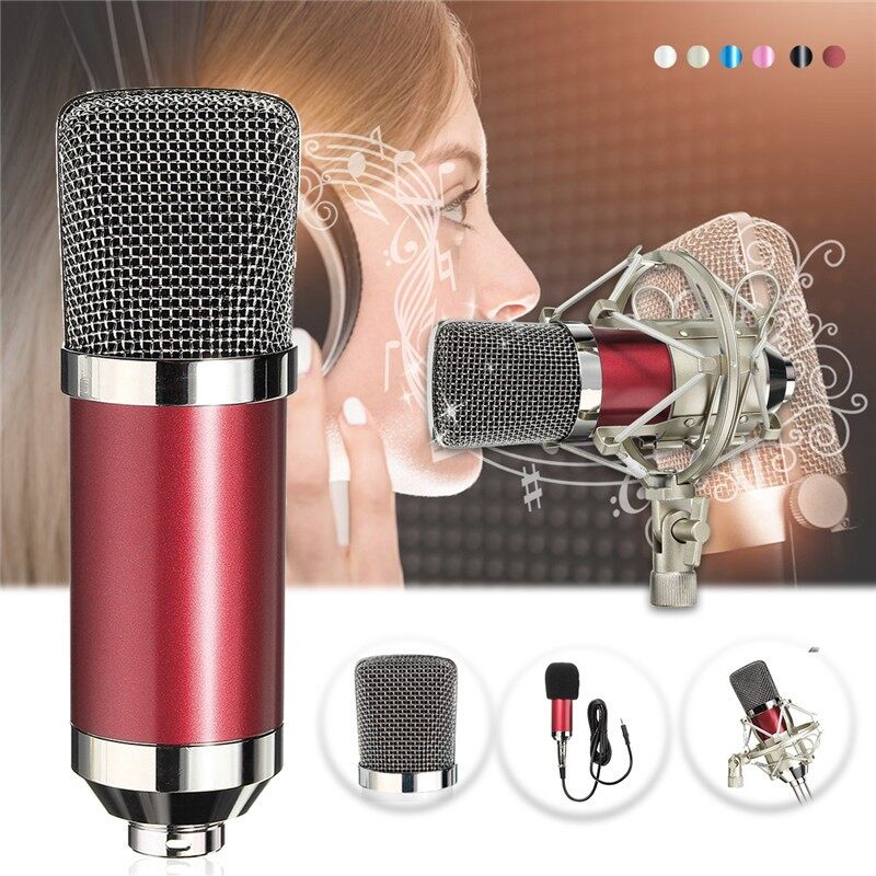 Microphones - BM 700 Condenser Sound Recording Microphone Shock Mount for Radio Braodcast - RED / CHAMPAGNE / PINK / BLACK / WHITE / BLUE
