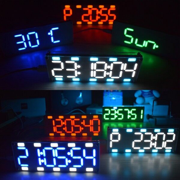 Table Lamps - Geekcreit 6 Digit LED Large Screen Digital Desktop Clock Kit Touch Control - RED / YELLOW / GREEN / COLD BLUE / BLUE / WHITE