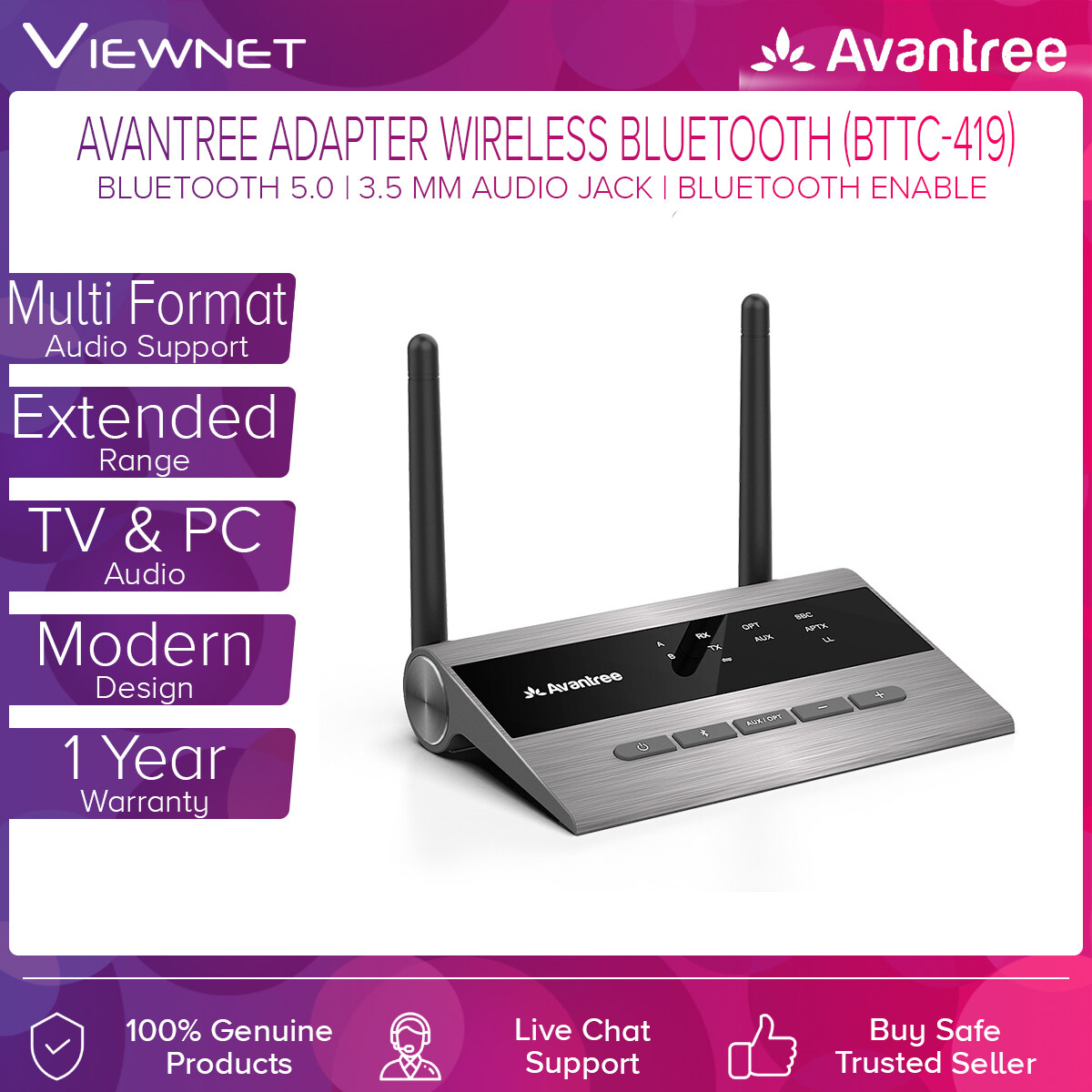 Avantree Adapter Wireless Bluetooth (BTTC-419) with Audio Transmitter & Receiver for TV & PC Audio, Home Stereo Speakers, Digital Optical, 3.5 mm Audio Jack, RCA