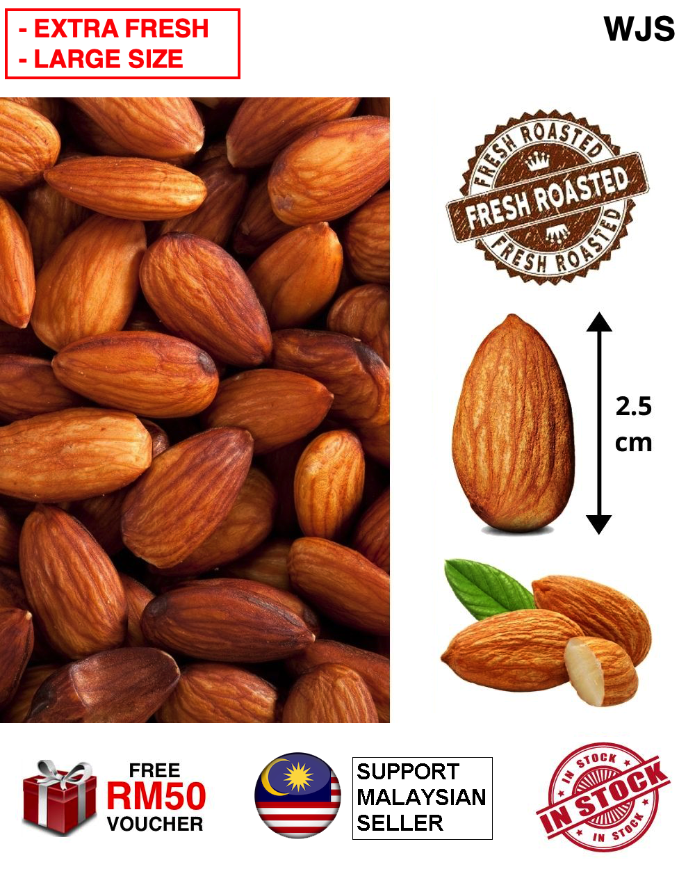 (EXTRA FRESH WITHOUT PRESERVATIVE) WJS Freshly Collected Premium Roasted Almond Nut Almond Nuts Groundnuts Kacang Almond Happy Nuts Xing Ren Guo Kacang Badam FRESH 500G [FREE RM 50 VOUCHER]