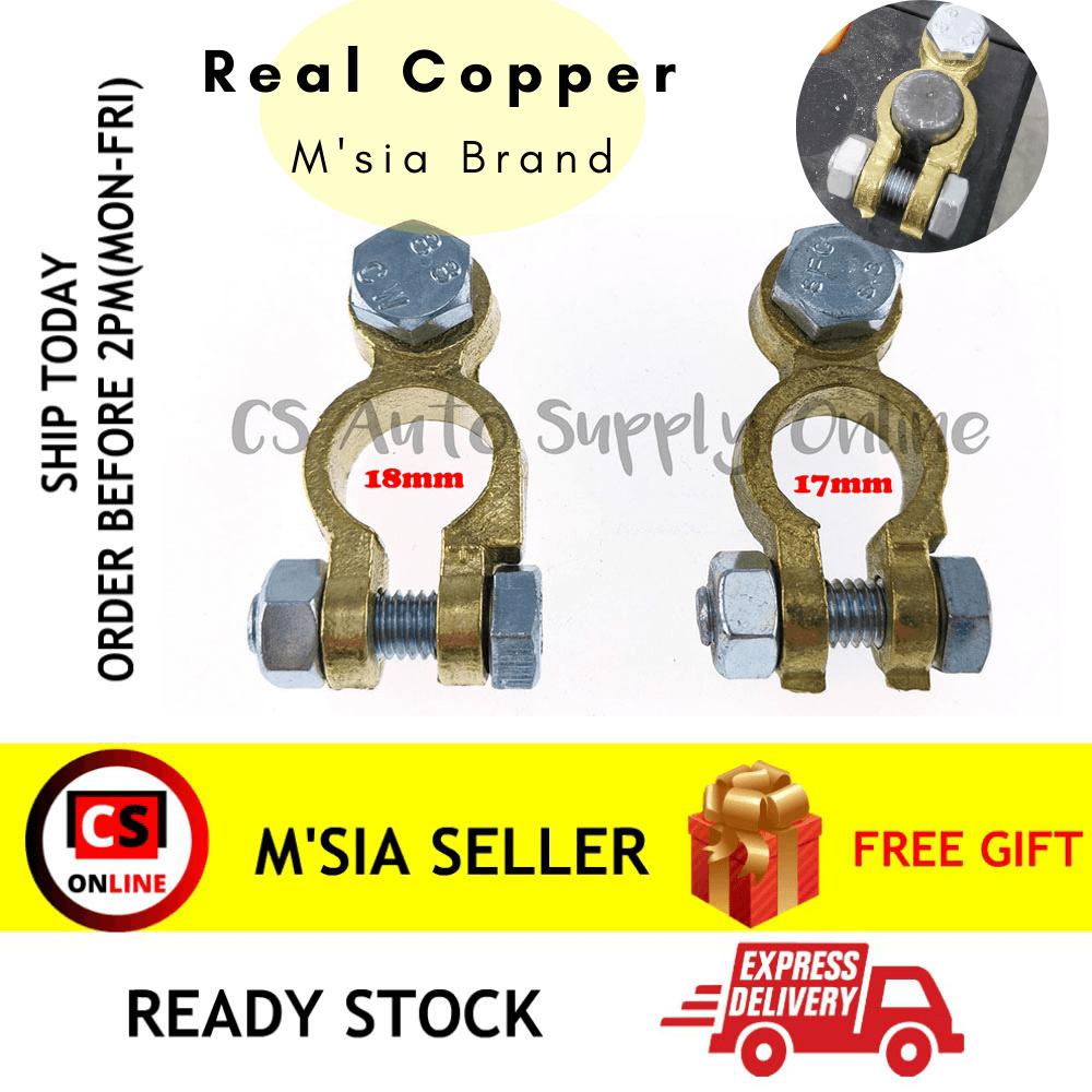 [cs auto] 2pcs x Battery Terminal Clamp Clip Real Copper Brass 008 Car Lorry Truck 17mm 18mm Positive Negative Universal