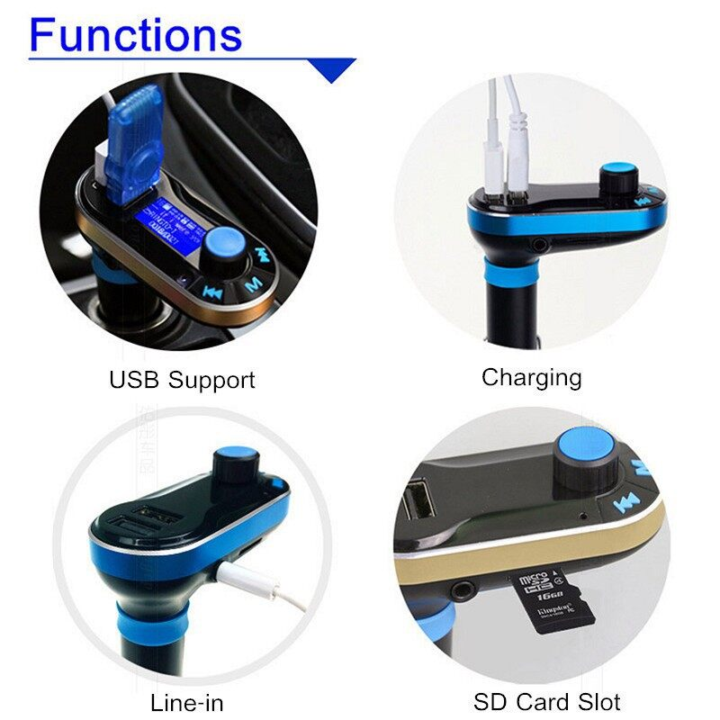 Musical Instruments - BLUETOOTH Car Radio Audio FM Transmitter MP3 Player USB SD Modulator w/Remot - RED / BLUE / SLIVER
