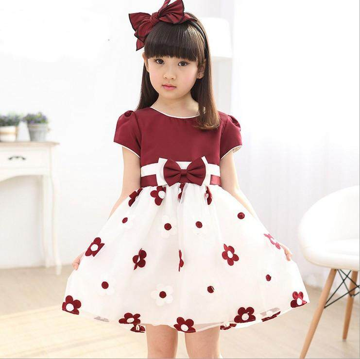 (Pre Order14 Days JYS  Fashion Korean Style Kids Girl Dress Collection -5187326col518-7326--Red-110