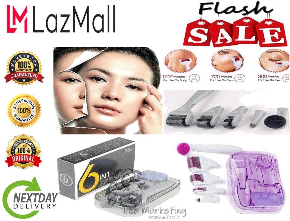 Leo Marketing 100% Ori 6 in 1 Titanium Derma Roller Kit Micro Needle Therapy Skin Care Anti Wrinkles Acne Scars Pro Kit