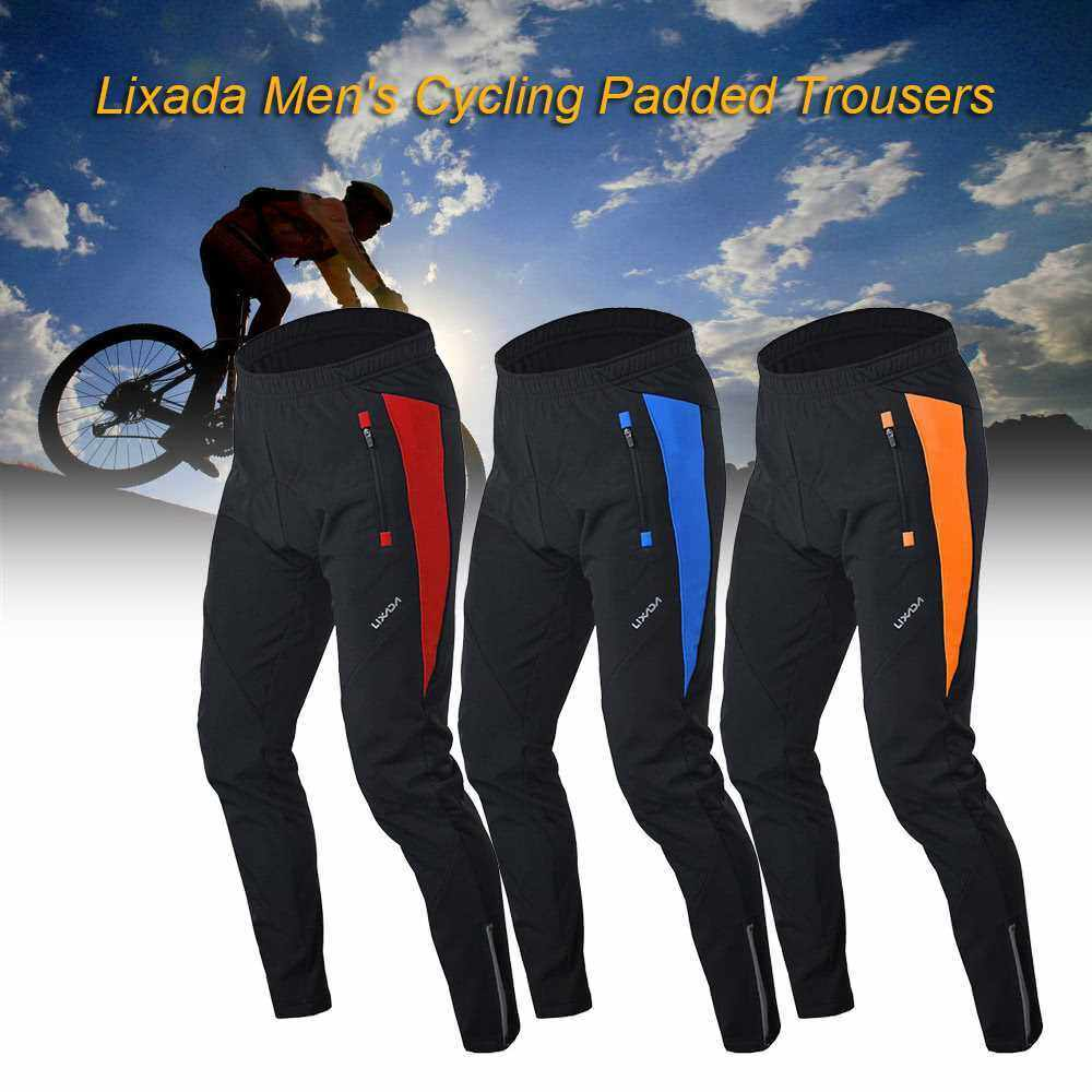 Lixada Men\'s Outdoor Cycling Pants Winter Thermal Breathable Comfortable Trousers with Padded Cushion Riding Sportswear (orange)