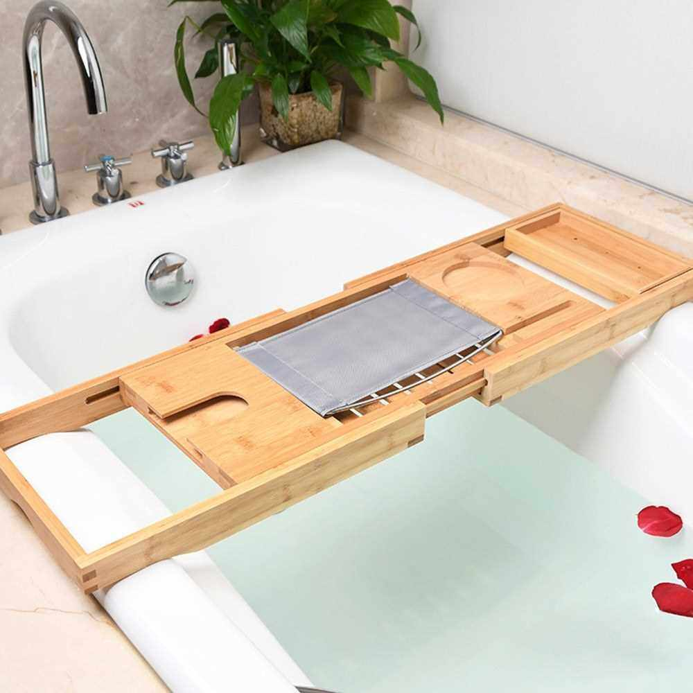 Shelf Bamboo Bathtub Stand Multifunctional Storage Rack Mobile Phone Holder Toilet Retractable Bathroom (Yellow)