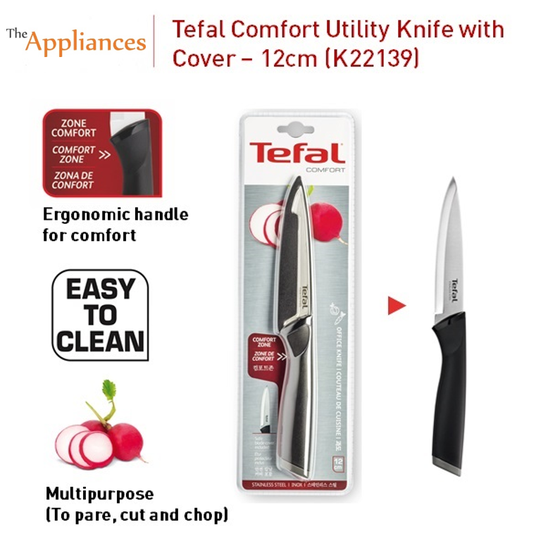 Tefal Comfort Utility Knife with Cover (12cm)
