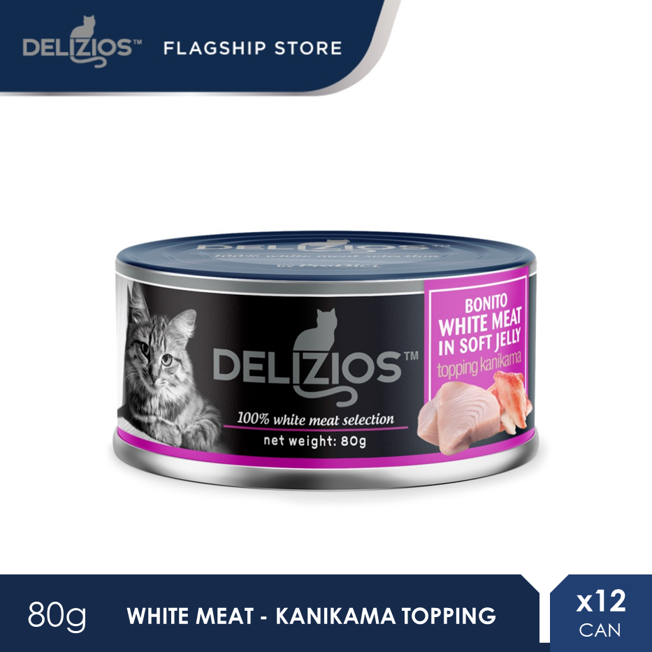 Delizios 80G Bonito White Meat in Soft Jelly Topping KANIKAMA Wet Cat Food X 12 Cans