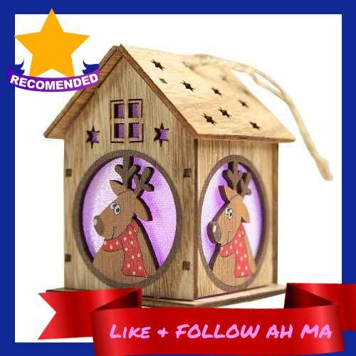 Best Selling Christmas Luminous Wooden House with Colorful LEDs Light DIY Wood Chalet Christmas Tree Hanging Ornaments Xmas Festival Holiday Decorations Gifts (3)