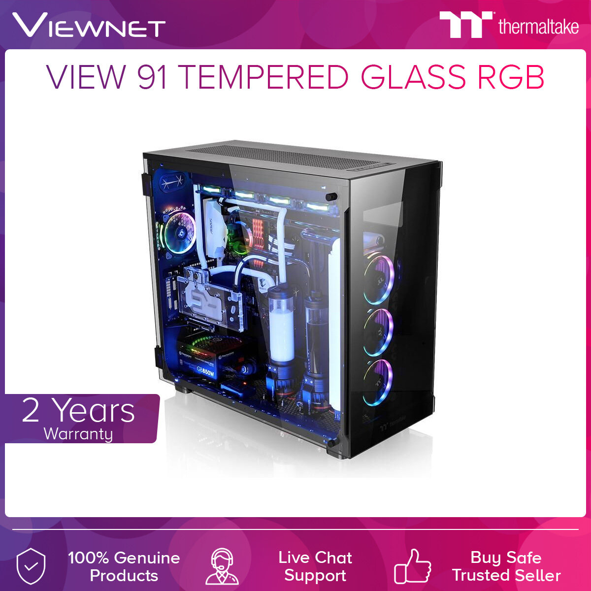 Thermaltake View 91 Tempered Glass RGB Super Tower Black Casing (CA-1L9-00F1WN-0)