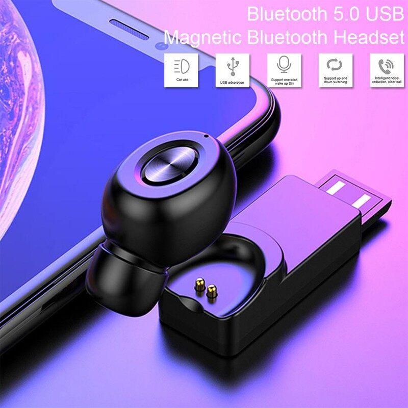 X18 BLUETOOTH 5.0 Single Earphones WIRELESS USB Waterproof MINI In-ear HIFI Head SET - BLACK / WHITE