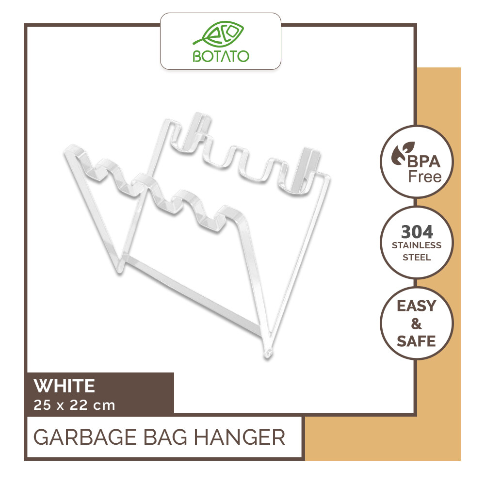 (Ready Stock) [Eco.Botato] GARBAGE BAG HANGER Stainless Steel Flexible Trash Bag Holder Rack Kitchen Tools