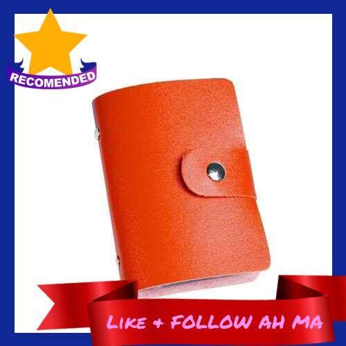 Best Selling Fashion Women Men Card Holder Organizer 24 Card Slots PU Leather Business ID Credit Card Case (Orange)