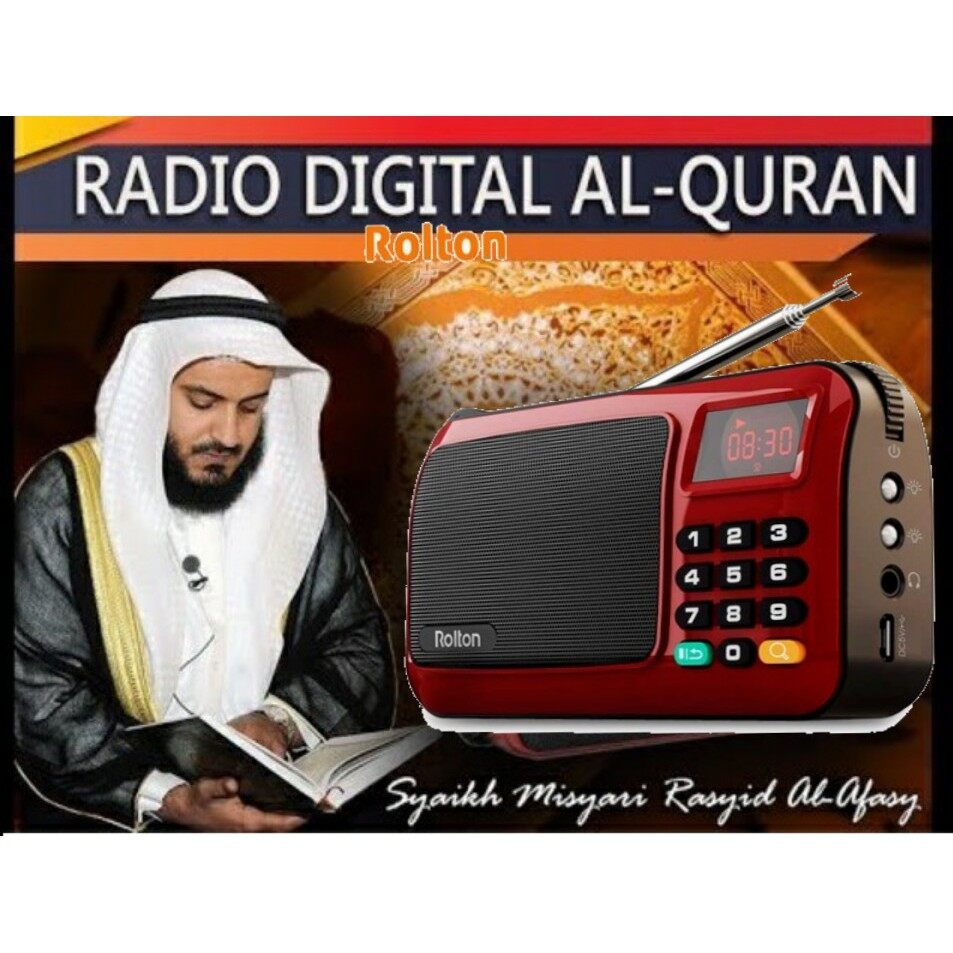 [Red] Rolton W405 Rechargeable Digital FM AM Portable Pocket Radio Al-Quran With USB TF Card