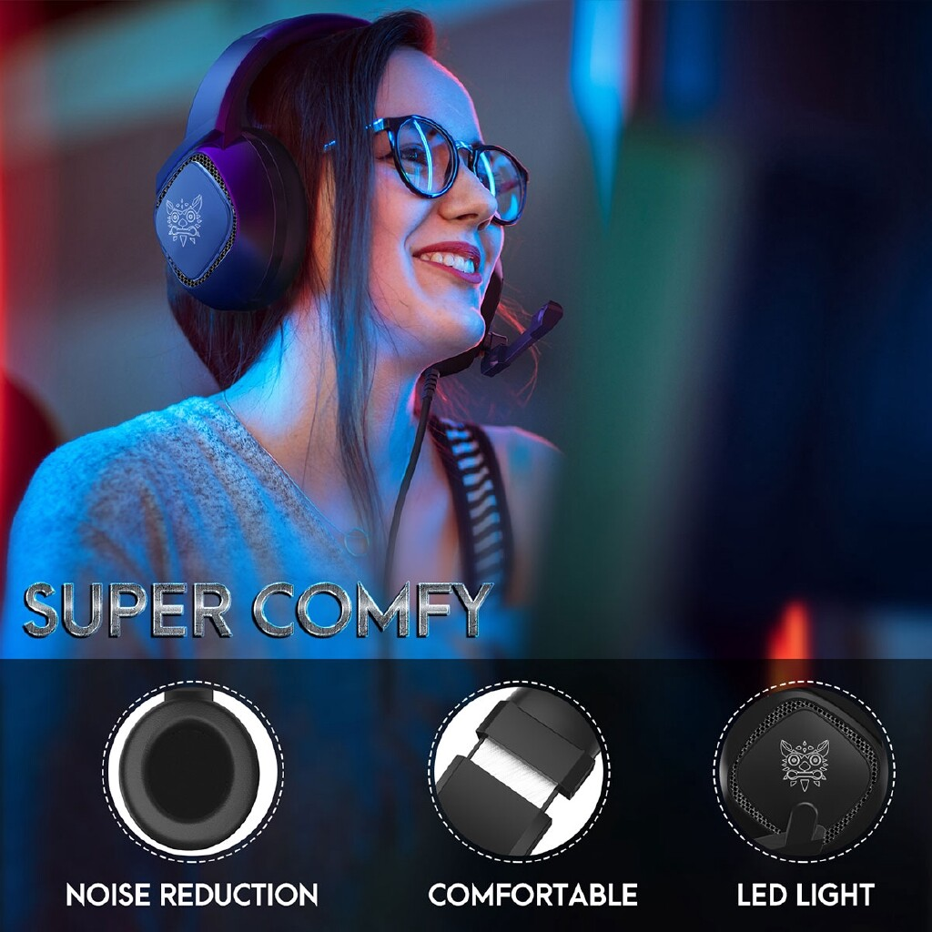 Over-Ear Headphones - Universal PC Gaming Head SET MIC RGB LED Headphones 3D Surround For Xbox PS4 PC-3c - Audio