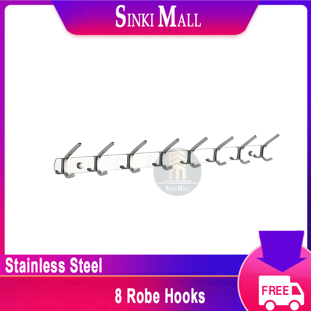 SUS304 Stainless Steel Coat Bath Towel Hook Hanger with Heavy Duty Double 6 Hooks,Polish Finish