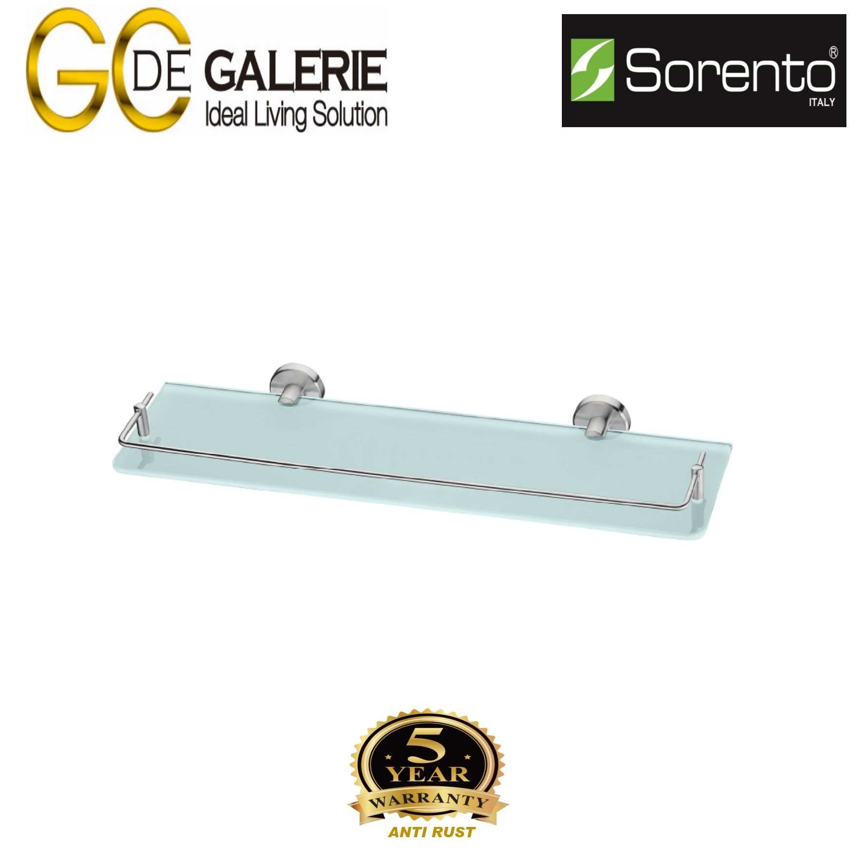 Sorento SRT2305-HP Bathroom/ Toilet Stainless Steel 304 Glass Shelf