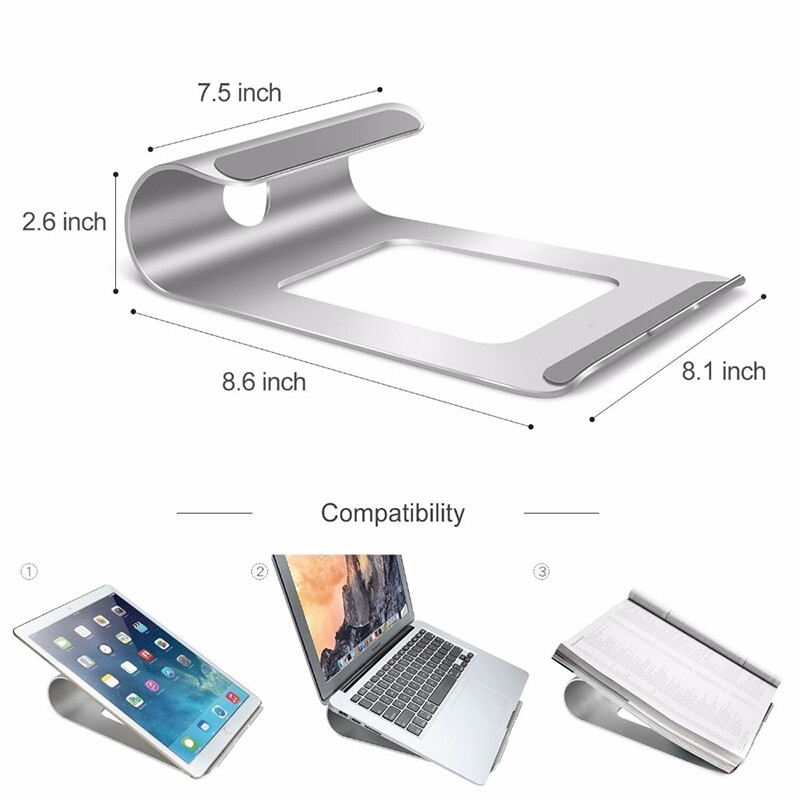 Gadgets - Aluminum Laptop Tablet Stand Holder Ventilated Computer Bracket Cooling Base with Anti Slip Pad