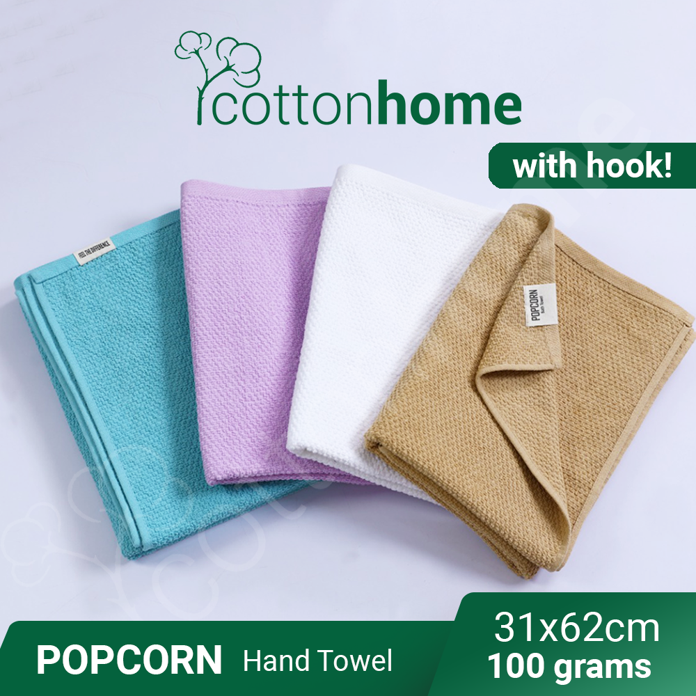 PopCorn HAND Towel with hook : tuala tangan Famous hand Towel -100 grams - Quick Dry : Very Good absorbent , Nice Fabric,  towel with hook penyerap air