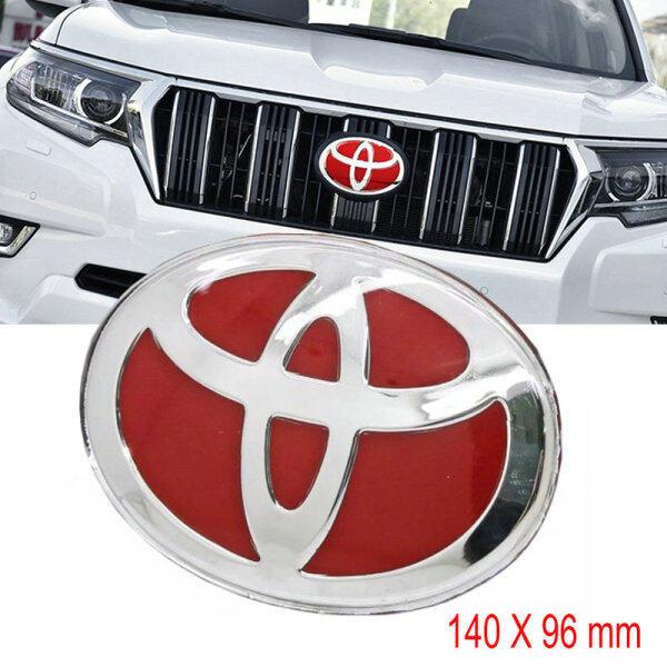 Xe Phía Trước Lưới Tản Nhiệt Biểu Tượng Nhãn Dán Âm Thanh Nổi 3D Cá Nhân Sticker, Huy Hiệu Đề Can Chữ Trang Trí Cốp Xe Sửa Đổi 140X96 Mm Dành Cho Xe Toyota Land Cruiser Prado RAV4 HighLander Camry Yaris Corolla Wish VIOS ALTIS ALPHARD VELLFIRE (Màu Đỏ)
