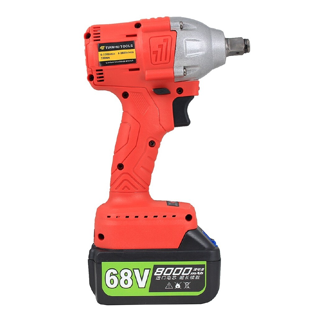 Power Tools - 68V Cordless Lithium-Ion Electric Impact Wrench Brushless 3 Speed Torque 320 Nm - BLUE / RED / YELLOW