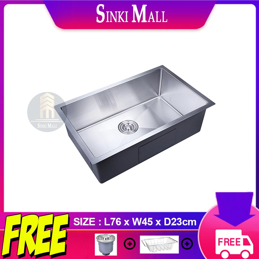 Handmade 76x45 SUS 304 Stainless Steel Kitchen Single Sink Basin Counter Topmount Undermount Single Bowl *FREE