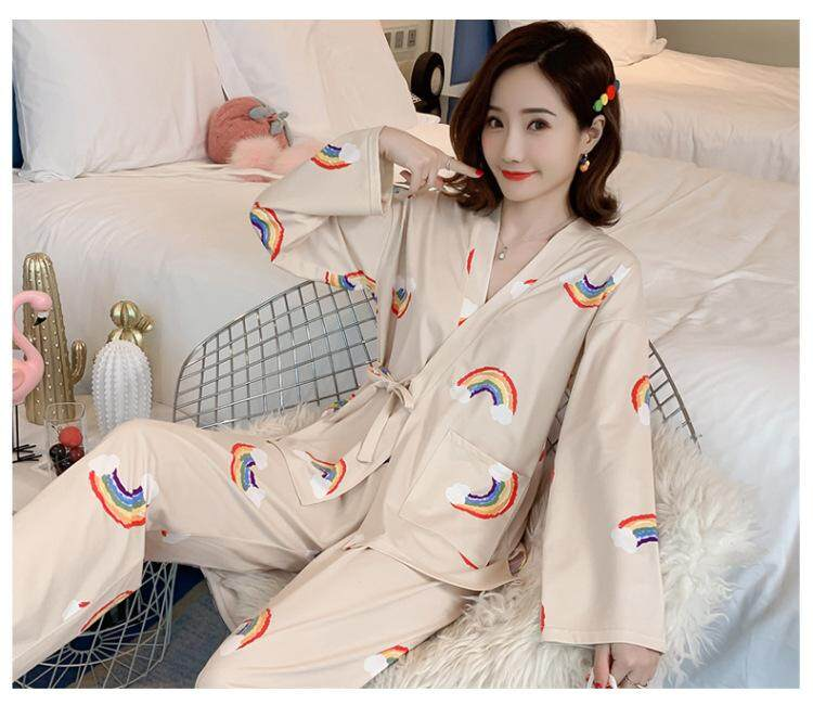 2 Pieces Women Ladies Japan Kimono Style Sleepwear Night Wear Flamingo Bird One set Pajamas ( Top + Pants )