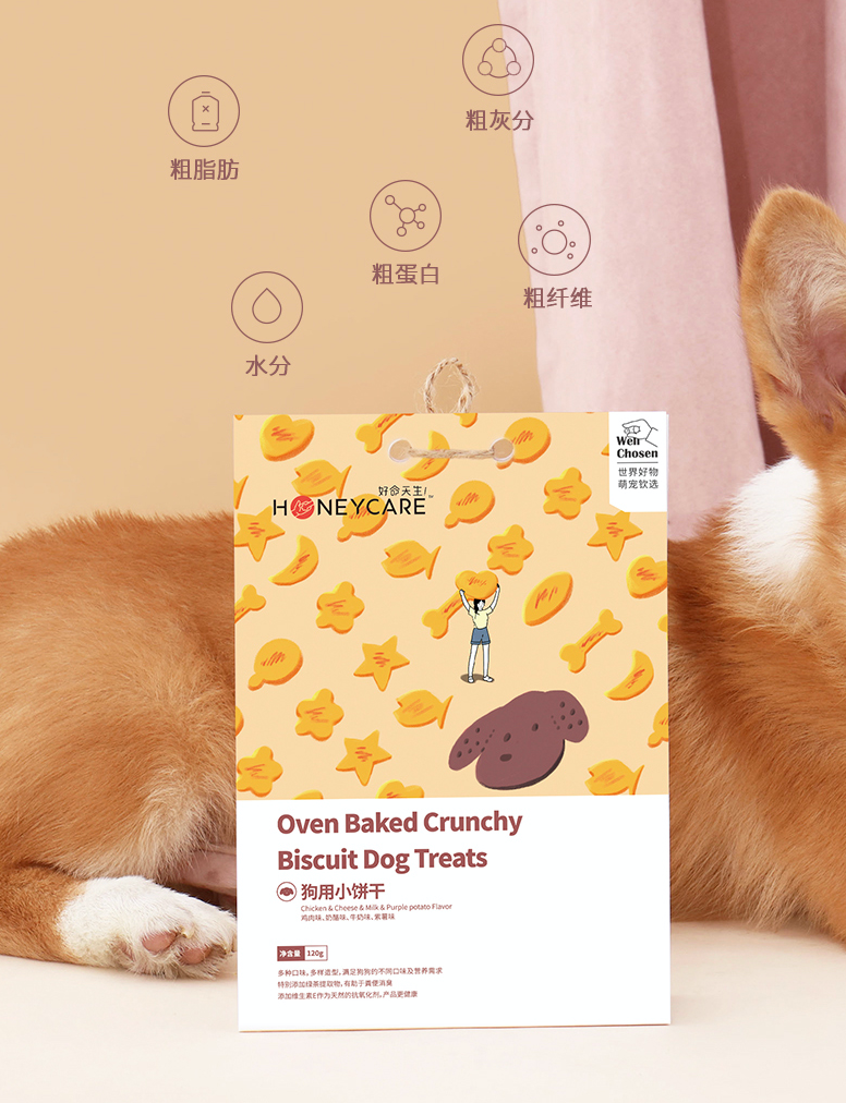 Honeycare【天生好命】Oven Baked Crunchy Biscuit / Dog Treats (Chicken, Milk, Cheese and Purple Potatoes Flavour) 狗狗磨牙美毛补钙消臭小饼干 / 宠物零食 120g