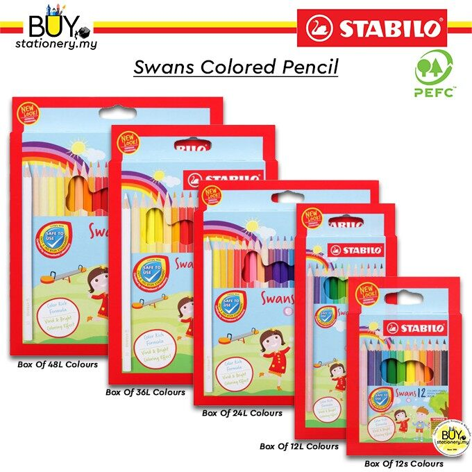 Stabilo Swans Coloured Pencil 12s/12L/24S/36L/48L - (BOX)