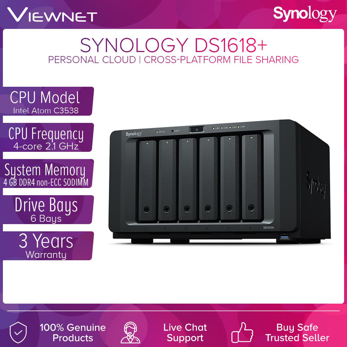 Synology Enclosure 6-BAYS/Intel Atom C3538 QC 2.1GHz/4GB (DS1618+) NAS