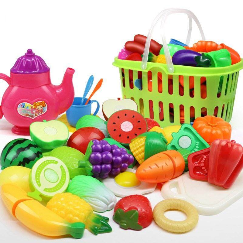 36 Pieces Kids Pretend Role Play Kitchen Fruit Vegetable Cut Cutting Toys Gift Set with Basket toys for girls