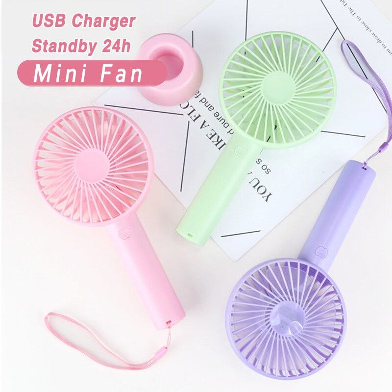 PORTABLE MINI Fan Handheld Rechargeable USB Charger Desk Fan with Free Lanyard - WHITE / PINK / GREEN / BLUE / BLACK