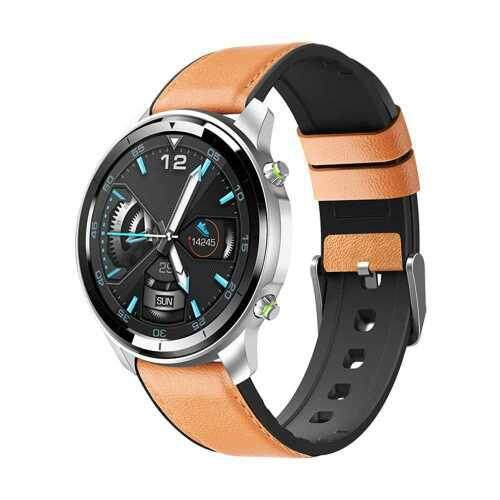 1.3 Inches Smart Watch Full Round Touchscreen Heart Rate Monitor Blood Pressure & Oxygen Secientific Sleep Multi-Sport Mode IP68 Waterproof Smartwatches for Men Women Compatible with Android/ iOS Support BT 4.2 (Brown + Silver)
