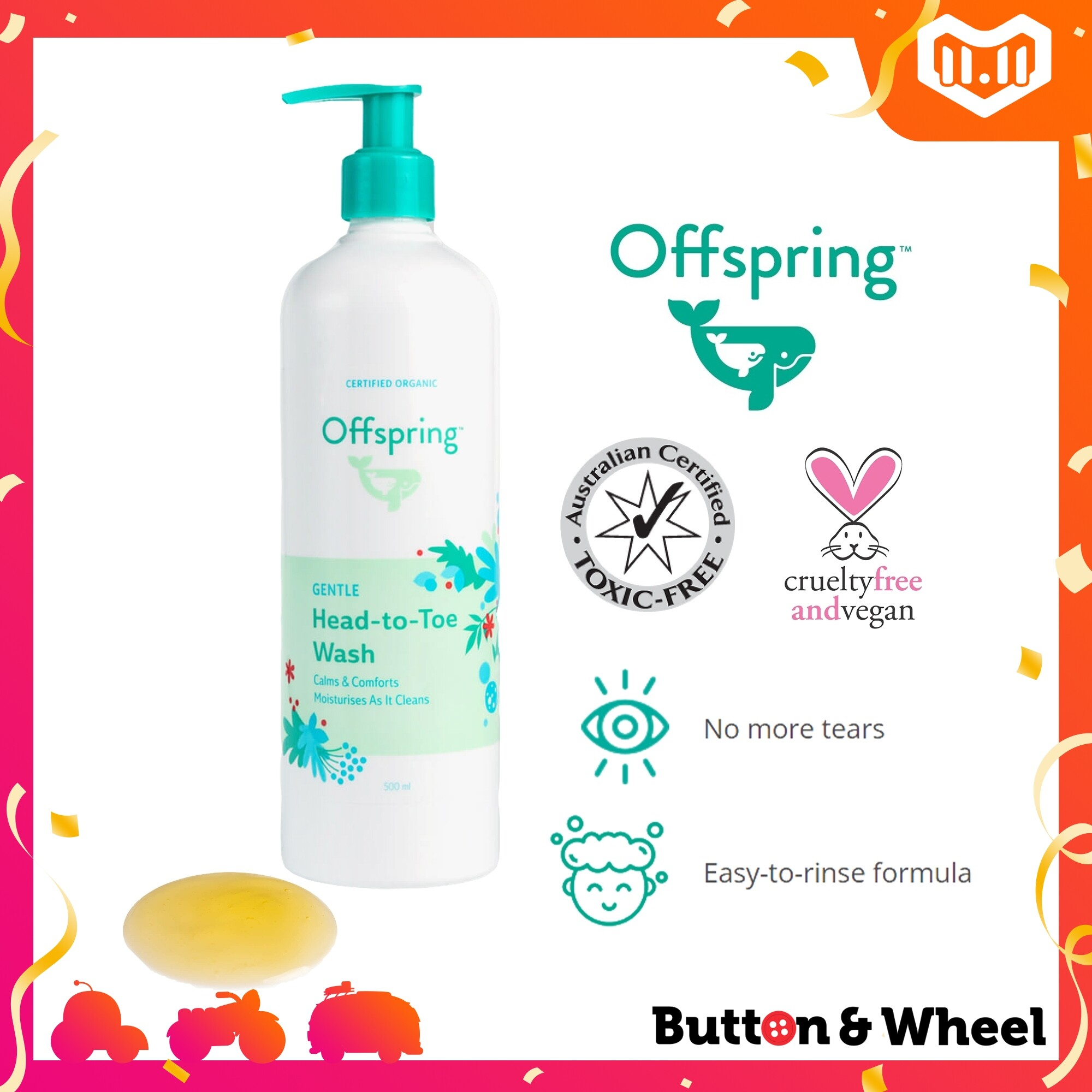 Offspring Gentle Head to Toe Wash (500ml):OI-BE-HTT-500ML