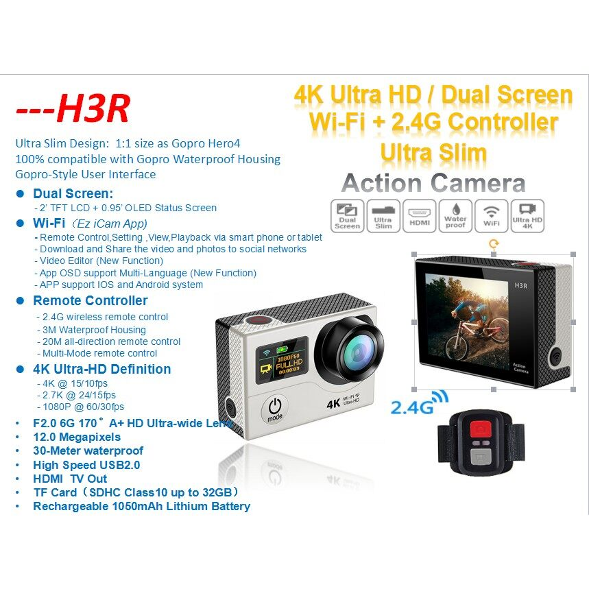 Sports & Action Cameras - Eken H3R Action Sports Camera ULTRA HD 4K WiFi Sport DV Dual Screen +2.4G Remote - BLUE / SILVER / GOLD / PINK / YELLOW / WHITE / BLACK