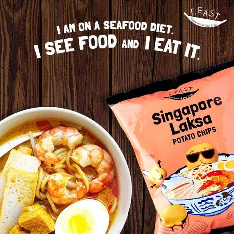 [HALAL] F.EAST LAKSA POTATO CHIPS (70g) Other Flavours: Chicken Rice Chips/Egg Prata With Fish Curry Chips (snack halal, chips halal, potato chips halal, chip halal, chips, potato chips, potato chip, potato crisps)