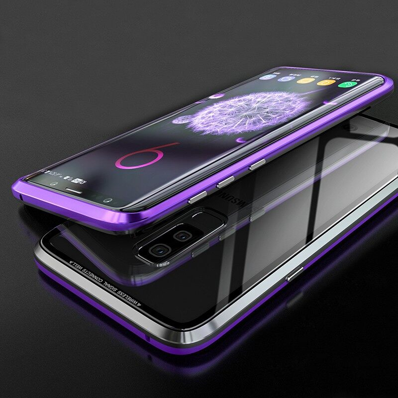 Android Soft Cover - Magnetic Adsorption Metal Clear Glass Protective Case - S9 PURPLE BLACK / S9 ALL SILVER / S9 RED / S9 BLUE BLACK / S9P PURPLE BLACK / S9P SILVER / S9P BLACK / S9P RED / S9P BLUE BLACK / S9P RED BLACK