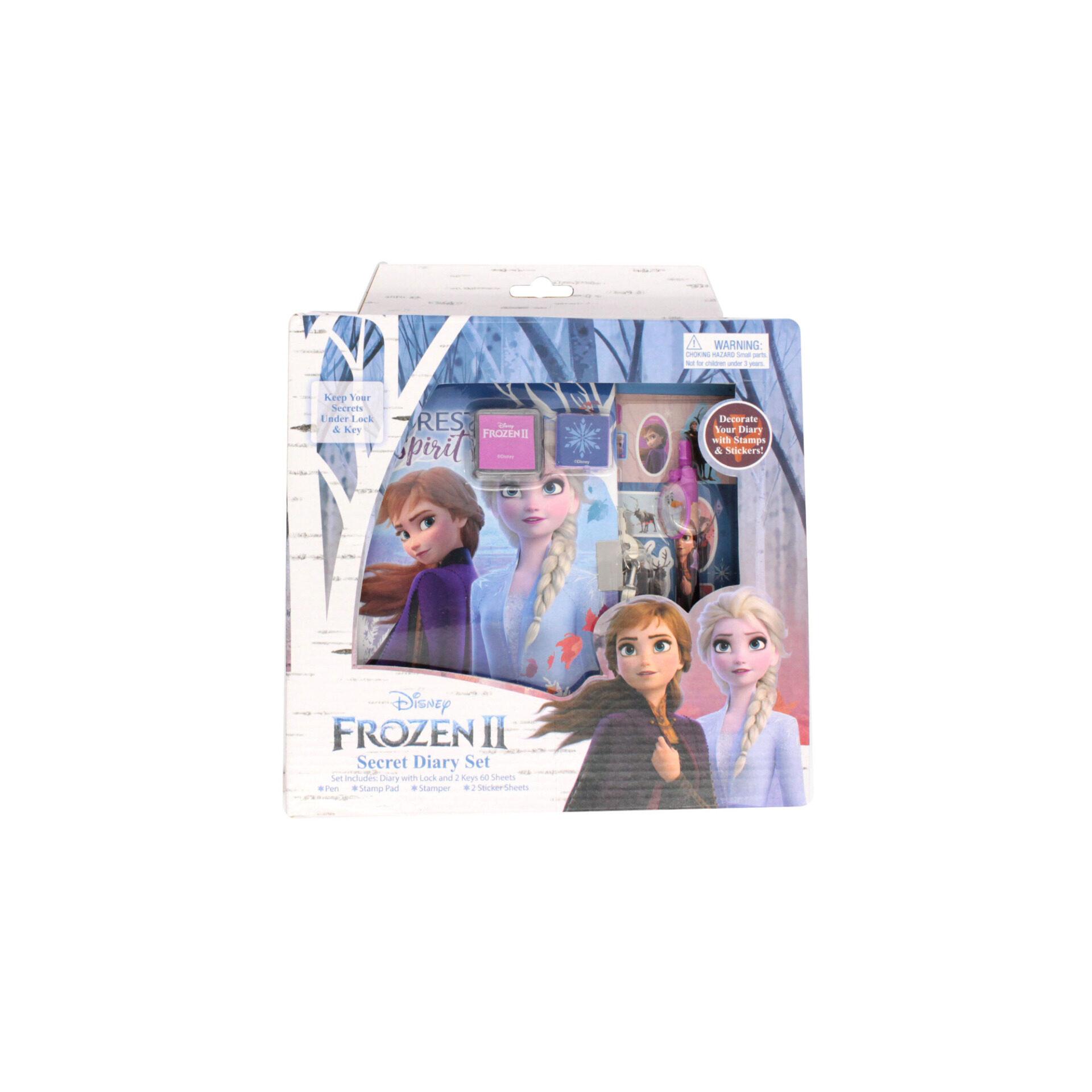 Disney Frozen 2 Princess Elsa & Anna Secret Diary Set With Lock & 2 Keys Pen Stamp Pad Stamper & 2 Sticker Sheets For Girls