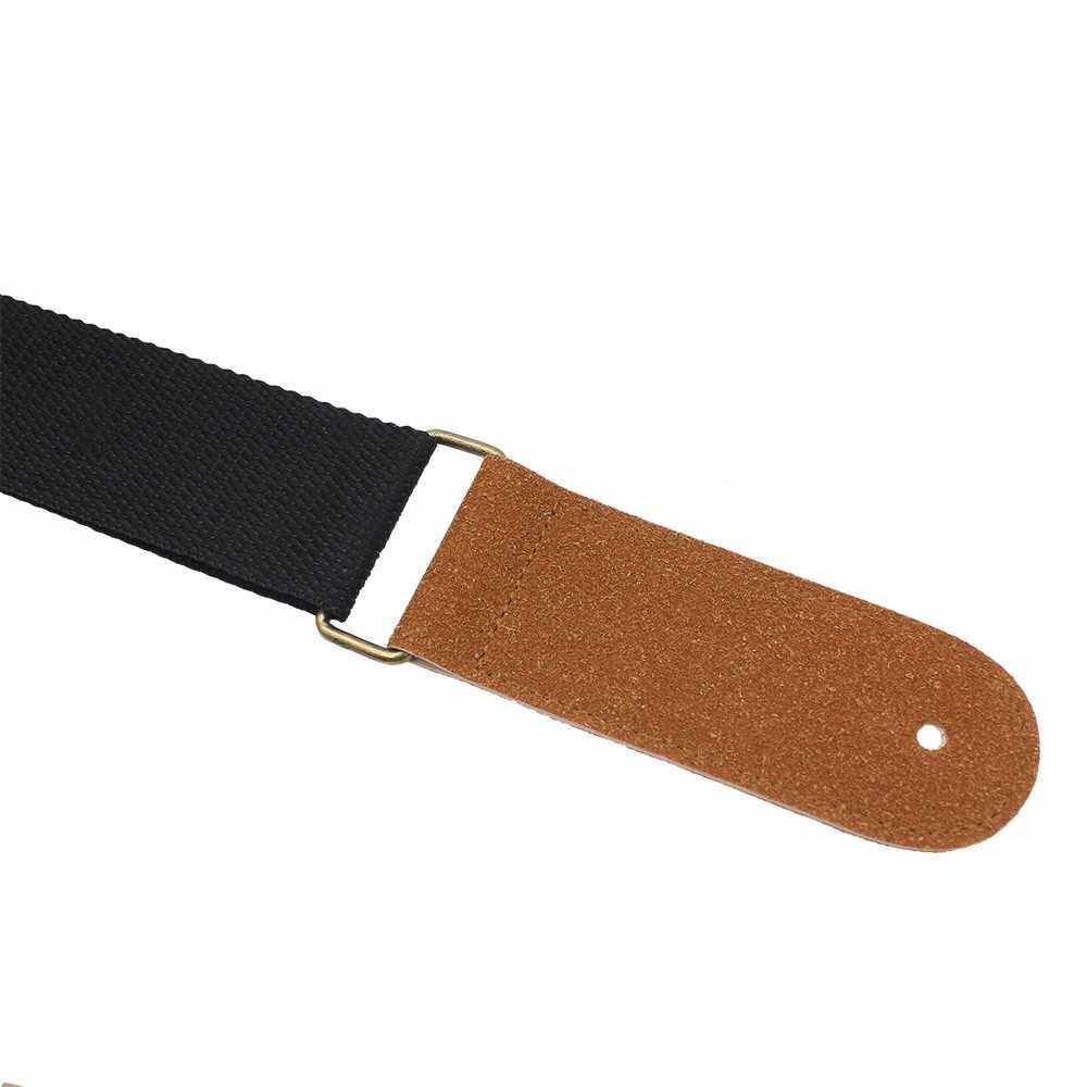 Best Selling IRIN Adjustable Belt Woven Cotton Guitar Strap with Leather Ends for Electric Acoustic Folk Guitars Comfortable and Durable (Black)