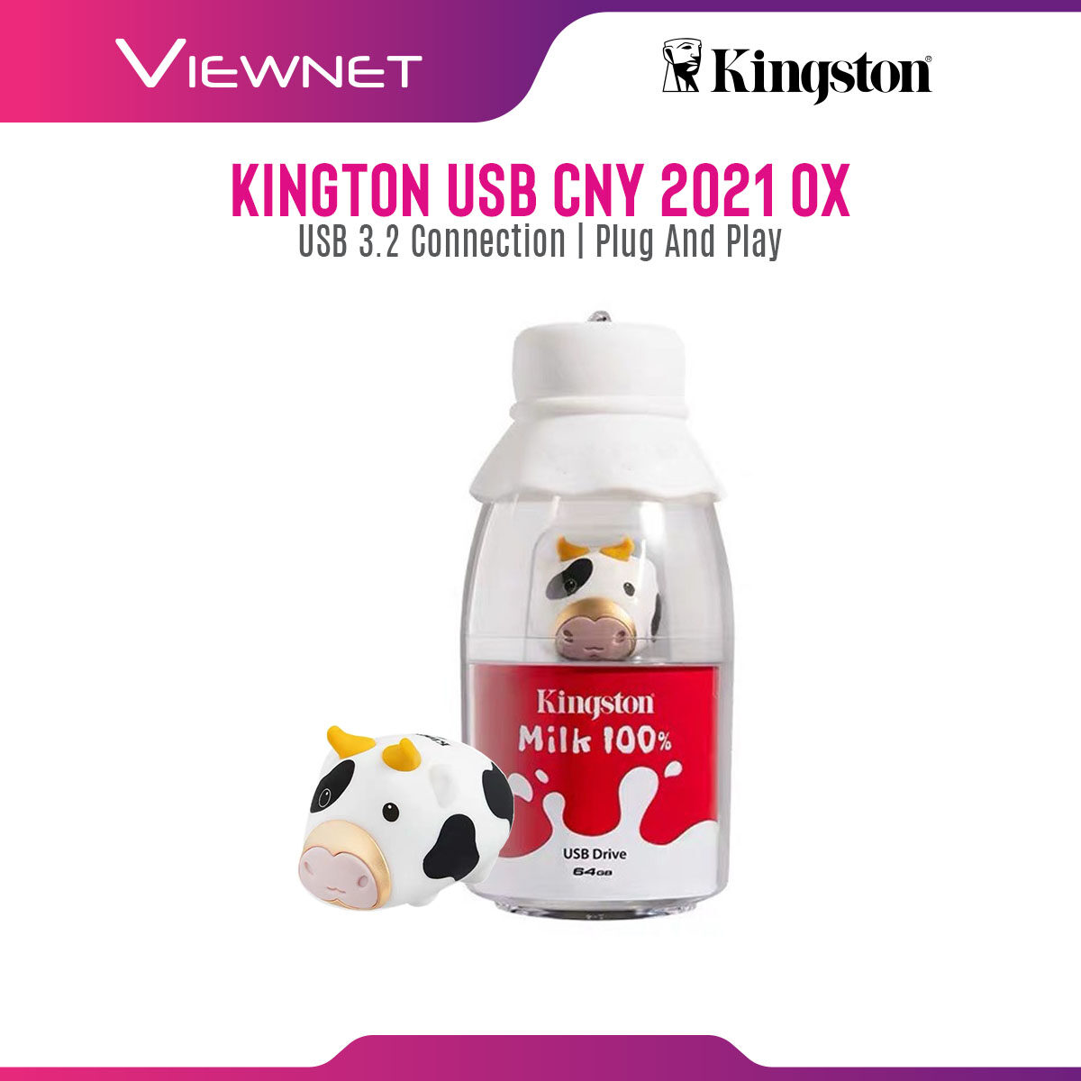 Kingston Limited Edition CNY 2021 Cow Pendrive with USB 3.2, Rubber Casing, Milk Bottle Acrylic Display