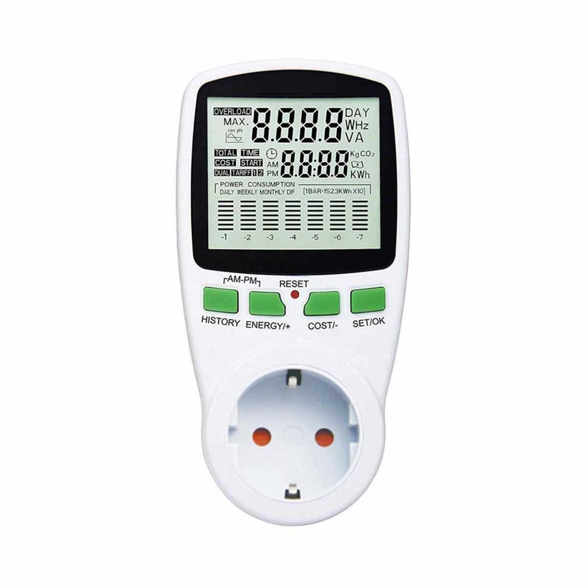EU Plug Plug-in Digital LCD Energy Monitor Power Meter Electricity Electric Usage Monitoring Socket (White)