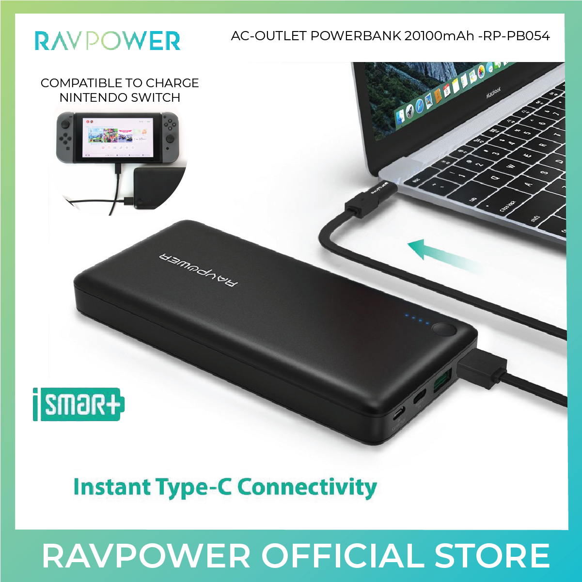 RAVPower Portable Charger (With QC3.0) Turbo+Series - 20100mAh