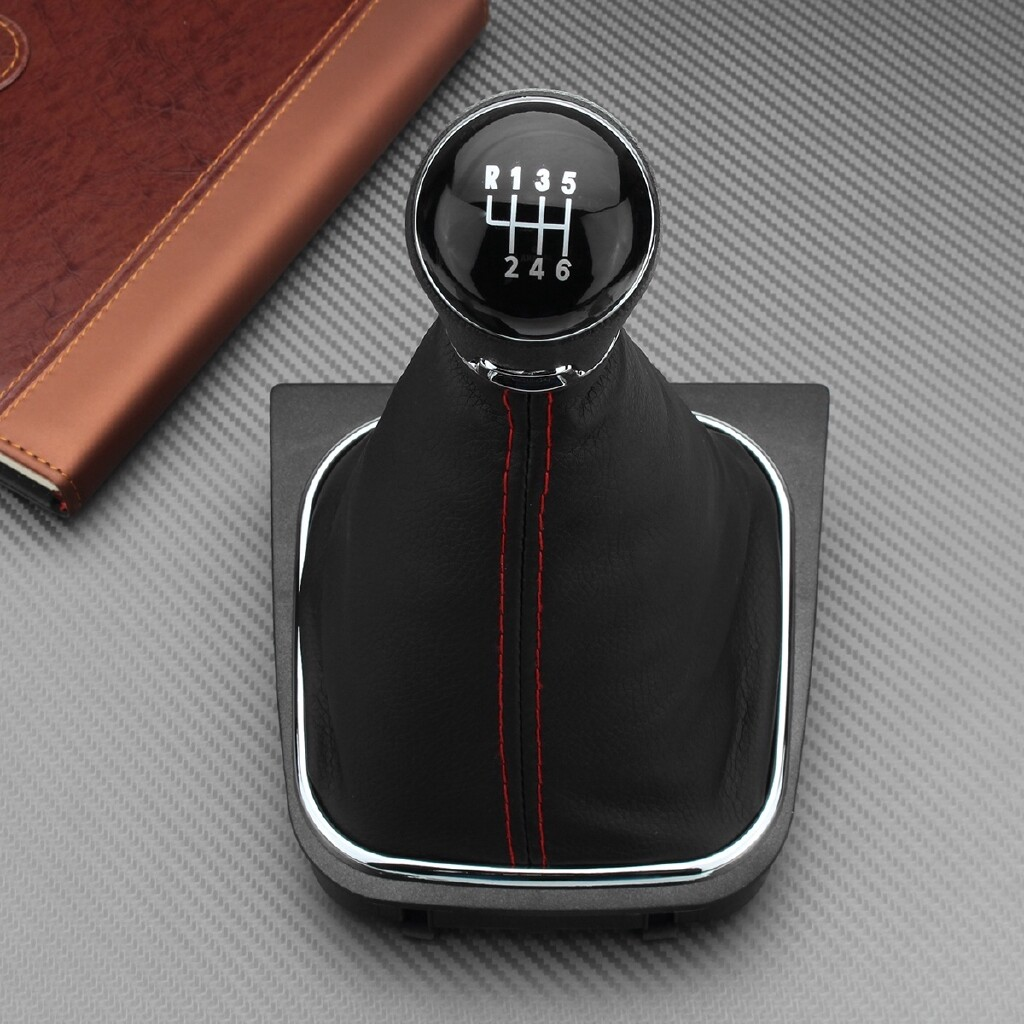 Steering, Seats & Gear Knobs - Car 5/6 Speed Gear Shift Knob Lever Leather Gaitor Gaiter Boot Cover For VW - Car Replacement Parts
