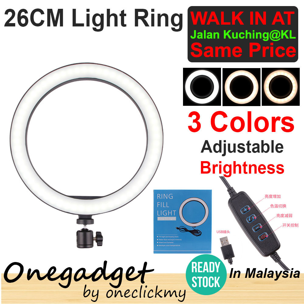[?READY STOCK IN MALAYSIA]16/26cm Photography Selfie Lighting Dimmable LED Ring Light Lamp With 50cm/160cm Tripod Stand26cm Ring With Handphone Holder