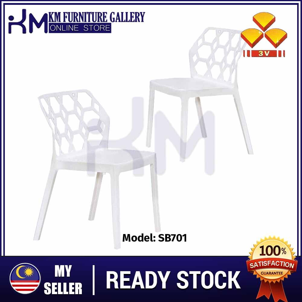 KM Furniture 3V Solid Strong Daily Chair/Dining Chair/ Plastic Chair/ Kerusi Plastik SB701 (2 Unit/ Set) KMSB701W